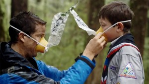 On the set: Bear Grylls and Connor adjusting their oxygen masks