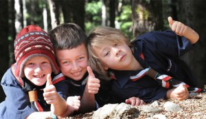 Asha, Connor and William from the Te Anau Scout Group (South Island, NZ) relaxing after the shooting of the video