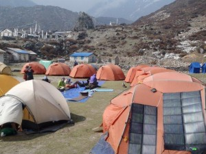 The 2013 Expedition camping in Langtang Village awaiting better weather conditions