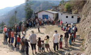 The 21013 Expedition meets pupils and teachers outside a local school in Nepal