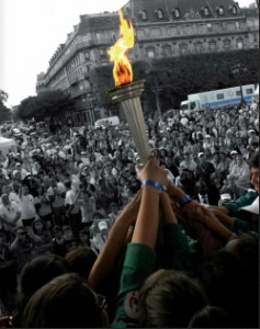 "The ""Flame of Hope"" carried through German cities in 2013"
