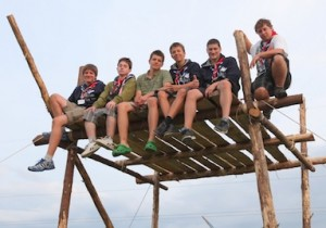 Scouts from Liechtenstein relaxing at the 2011 World Scout Jamboree