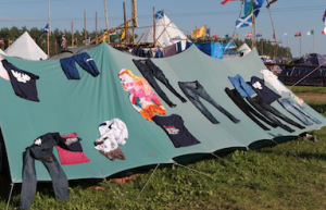 Drying clothes after the rainstorm (World Scout Jamboree 2011)