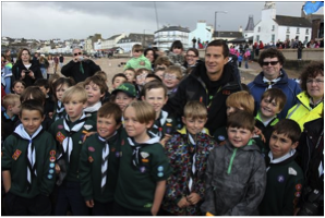 Manx Scouts proudly surrounding their Chief Scout for the souvenir photo