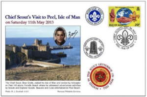 Special stamp and cover commemorating the Chief Scout's visit to Ellan Vannin