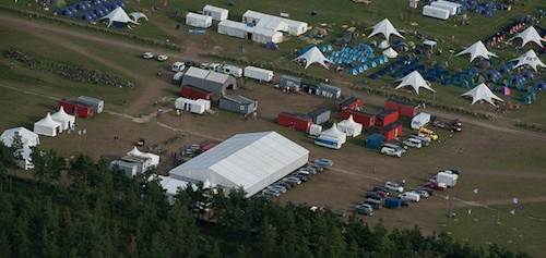 The red containers of The Medical Section next to the Jamboree