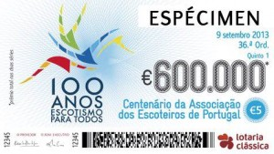 A special Centenary Lottery marking the first 100 years of Scouting in Portugal