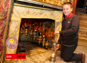 Michael lights this year's ORF Peace Light in Bethlehem