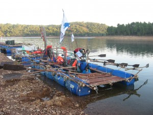 Different types of rafts secured for the night's rest during last year's event