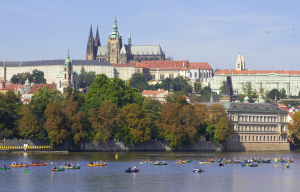 One of the attractions of the regatta: racing down the Vltava River through the historic centre of Prague