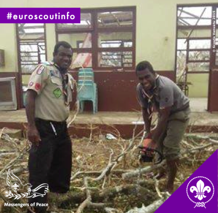 Scouts clearing away debris at Collège de Monmartre in Port Vila