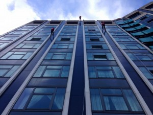 Scouts Abseiling the 50m high front of Belfast's Europa Hotel
