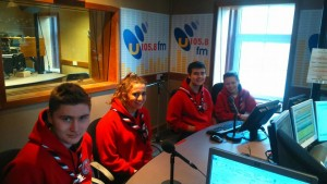 "Members of Unit 62 ""on air"" at radio U105"