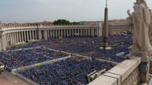 Saint Peter's Square on Saturday: a sea of blue Scout shirts
