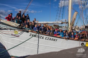"The traditional ""Family Photo"" aboard the Polish Sea Scout ketch s/y  Zawisza Czarny"