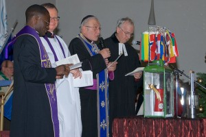 Ecumenical prayer led by The Rev Fr. Ndumba Douglas Ukomeno, The Rev Canon Patrick Curran, The Rt Rev Chorepiscopos Emanuel Aydin and The Rev Wolfgang König (image: PPÖ/Rudi Klaban)