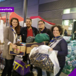 Scout Leaders from Wiener Neustadt (Austria) bring needed items to the central refugee assistance point at Vienna's Westbahnhof
